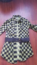 Abbey Dawn lime green and black checkered tunic belted top juniors medium M