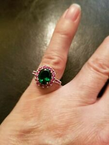 2.00 CT RUSSIAN EMERALD & 1.00 CT RUBY 10KT SOLID YELLOW GOLD RING SIZE 7.5