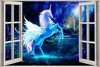 Huge 3D Window view Fantasy Unicorn Pegasus Wall Sticker Decal Wallpaper 719