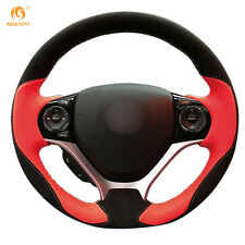 Black Suede Red Leather Steering Wheel Cover Wrap for Honda Civic 9 2012-2015