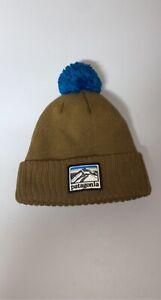 Patagonia Brown Beanie w/ Stitched Logo & Blue Pom Pom ULTRA WARM Brand New