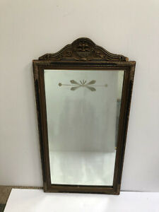 Vintage Antique Wall Mirror Wood Frame Floral Carvings Rectangular etched glass
