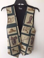 Equestrian Vest Horses Saddles Boots Spurs with Horse Clasp Pin Nicole
