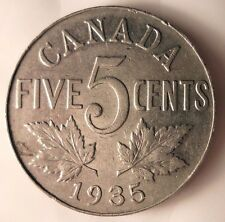 1935 CANADA 5 CENTS - Low Mintage Quality Coin - FREE SHIP - Canada Bin #A