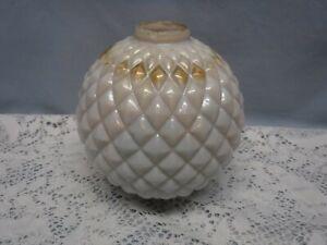 "VINTAGE ANTIQUE GLASS LIGHTNING ROD BALL- WHITE MILK DIAMOND QUILTED 5"""