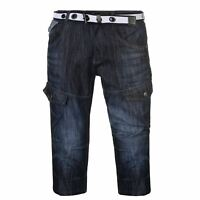No Fear Belted Cargo Shorts Mens Gents Denim Pants Trousers Bottoms Zip