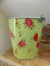 GORGEOUS FLORAL & SPOTTY SHABBY CHIC KINDLING COAL BUCKET..NEXT DAY POSTAGE