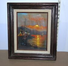 "W Vennekamp  Oil Painting  Ship at Sunset Signed by Artist 14"" x 12"""