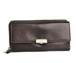 TUMI Women's Seurat Zip Continental Textured Leather Clutch Wallet in Coffee