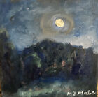 Original Nocturnal October Moon Hudson Valley New York.  8x8 Oil On Canvas.
