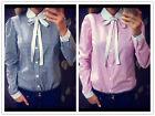 Women Long Sleeve OL Shirt Peter Pan Collar Plaids Checks Button Blouse Tops Hot