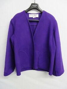 Yves Saint Laurent Rive Gauche purple reverse button short wool jacket - Size 40