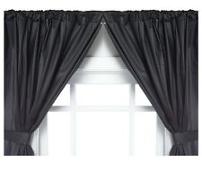 Vinyl Bathroom Window Curtain. 2 Panels with Tie Backs: 5-Guage Black