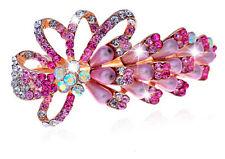 Rose Pink Rainbow Pearls & Rhinestones Bow Knot Hair Barrette Accessories HA137
