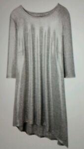 Ladies STYLISH Metallic Asymmetric Top - Silver - Size 16 *QUALITY*