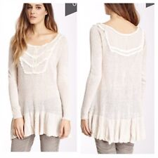 Free People Candy Yoke Linen Peplum Pullover Top Taupe size XS