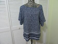 Beach Lunch Lounge Blouse,top,Petite S, NWT, Blue,white print, SS dolman sleeve