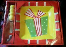 "CHEESE BALL PLATTER KNIFE SET PRESENT COLORFUL NIB 8.5"" X 8.5"" PINEAPPLE RECIPE"