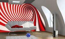 Papier peint mural mur pour maison 254x183cm+ADHÉSIF Tourbillon rouge et blanc