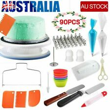 90PCS Cake Turntable Rotating Decorating Tool Baking Flower Icing Piping Nozzles