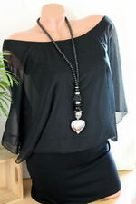 Modeschmuck Halskette Kette lang Herz Perlen Bettelkette Farbe Silber Schwarz