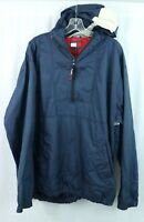 Tommy Hilfiger men's XXL half-zip Hooded Windbreaker Rain Jacket Spell-out Logo
