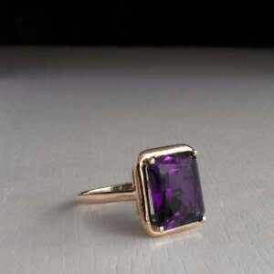 3Ct Emerald Cut Amethyst Diamond Solitaire Engagement Ring 14K Yellow Gold Over