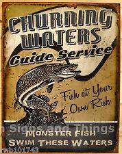Churning Waters Monster Fish Tin Sign fishing vtg metal funny decor rustic 1814