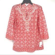 Retail $89.50 Charter Club Peachy Beaded Cotton Split Neck Tunic Pink Boho Small