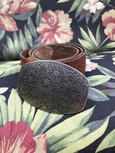 Men's size 32 brown tooled embossed distressed leather belt