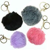 Cute Faux Fur Pom-pom Key Chain Bag Charm Fluffy Ball Keyring Pendant Dangle