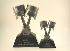 PISTON TROPHY RESIN '2 SET'!  FREE ENGRAVING!  SHIPS IN 1 BUSINESS DAY!!