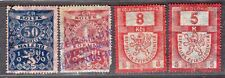 CZECHOSLOVAKIA FOUR REVENUES STAMPS
