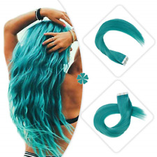 Hetto 14 Inch Tape in Hair Extensions Remy Human Hair #Teal Hair Color Seamless