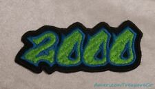 Embroidered 00s Hip Hop Graffiti Style Lime Green & Blue 2000 Year Patch Iron On