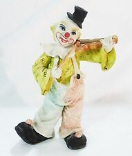 Vintage resin clown hobo playing on violin home decor collectible