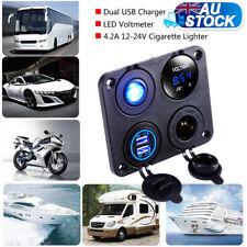 Dual USB Ports Car Charger + LED Voltmeter + 12V Power Socket + On-Off Switch AU