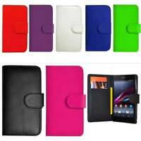 Flip Wallet Leather Book Case Cover & TEMPERED GLASS For Sony Xperia Z5 Z5 mini
