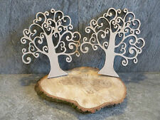 2 x wooden mdf swirly tree craft blank