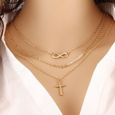 Women Colar Multi Layers Cross Infinity Beads Multilayer Necklace Clavicle Chain