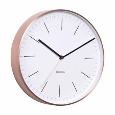 Karlsson MINIMAL WALL CLOCK COPPER Case WHITE Face - SILENT Modern