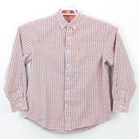 Izod Button Up Shirt Men's Size Medium Long Sleeve Blue White Dark Orange Check