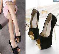 Womens Sexy High Stiletto Heels Platform Pumps Nightclub Peep Toe Slip On Shoes