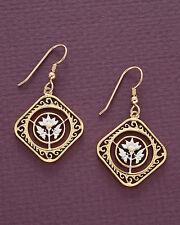 """7/8"""" in Dia.( # 234E ) Carribean Hibiscus Earrings,Hand Cut Saint Marttin Coins,"""