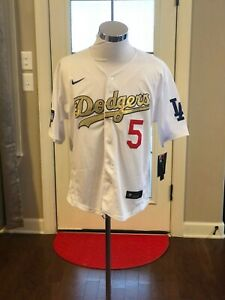 Los Angeles Dodgers #5 Corey Seager Gold World Series Champions Jersey