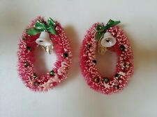 "Vintage Bottle Brush Christmas Wreaths Fuchsia Pink Flocked Ornaments 5"" Set 2"