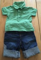 Baby Boys Mothercare Green Top And Jeans Size 3-6 Months