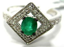 FINE JEWELRY GIFT 14K GOLD 3.44 GRAM RING 24 WHITE DIAMONDS OVAL EMERALD O.34CT