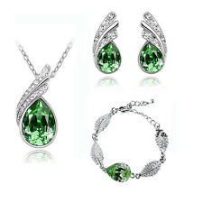 Green Elegant Jewellery Set Crystal Studs Earrings, Bracelet & Necklace S388