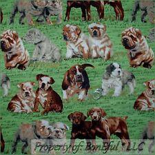 BonEful Fabric FQ Cotton Quilt Green Grass Scenic Puppy Dog Pug Nose Breed Hound